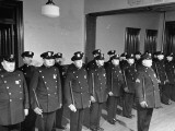 NYPD Officers Lining Up for Roll Call at the 25th Precinct