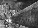 Workers From Gulf Interstate Gas Co Welding Pipe to Be Used in Natural Gas Pipeline
