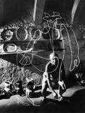 "Artist Pablo Picasso ""Painting"" with Light at the Madoura Pottery"