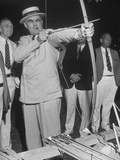 Governor Lewis O Barrow Mixing Archery and Politics While Campaigning for Reelection