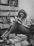 French Actress Barbara Laage in Her Apartment Reading