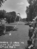 Golfer Byron Nelson Making a Hooked Shot to Left of the 16th Green