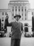 Mayor of San Angelo Harvey H Allen Standing in Front of City Hall