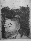 Etching of French Poet Stephane Mellarme by Artist Paul Gauguin