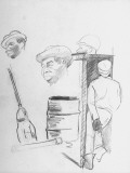 Sketches by Artist Douglas Stephen of African American Soldiers