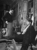 "Director Carol Reed Working with Actor James Mason on Set of the Moive ""Odd Man Out"""
