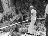 82 Year Old Tightrope Walker Ivy Baldwin Preparing to Walk over South Boulder Canyon