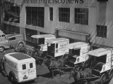To Conserve Tires  the San Francisco News Is Beginning to Use 4 Horses and Wagons for Deliveries
