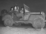 Singer Shirley Lloyd Riding in an Army Jeep on the Way to a USO Show