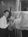 Artist Alex Rosenfeld Painting in His Studio