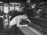 Man Working Loom in Textile Mill