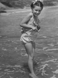 Child Actress Margaret O'Brien Posing at the Beach
