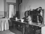Kitchen of the Campbell Mansion  with an Old-Fashioned Iron Cook Stove