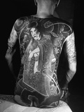 Tattoo of a Devil on Back of Japanese Gambler