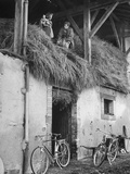 Former GI Ernest Kreiling Showing His Bride the Hayloft Where He Spent Thanksgiving 1944