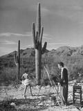 Arthritis Patient Hutton Webster  Jr Painting Nude Model in Desert at Clinic