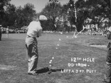 Golfer Byron Nelson Making an Excellent Approach Shot on 12th Hole
