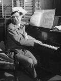 Comedian Phil Silvers Playing the Piano