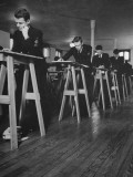 Young Men in Uniform Standing at Desks and Working in a Reserve Officers' Training Corps Class