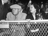 Baseball Player Babe Ruth Sitting in the Stands at Yankee Stadium During Babe Ruth Day