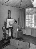 Artist Barse Miller Painting in His Studio