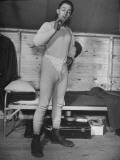New Draftee Standing in His Long Underwear in Barracks at US Army Post