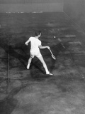 Jack Leonard Playing in the National Amateur Championship Racquet Match at Local Tennis Club
