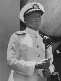 Adm Chester with Nimitz of the US Navy Giving a Speech to British Officers and Men