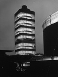 Exterior Night Shot of Modern Research Tower Built by Frank Lloyd Wright for Johnson Wax Co