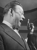 Comedian Fred Allen Wearing Bow Tie During Broadcast