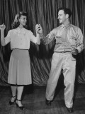 A Woman Teaching a Wounded Soldier a Series of Dance Steps at the Walter Reed Hospital