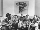 Artist Candido Portinari Sitting with Others on Couch