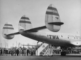 "People Boarding Twa Plane ""Constellation"""