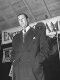 Actor Arthur Treacher Speaking on Behalf of One of the Mayoral Candidates During Campaigning
