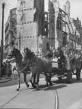 A Typical  Horse-Drawn &quot;Maywagon&quot; Riding on Chaussee Street  During May Day in Berlin