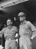 General Douglas Macarthur Smoking Corncob Pipe During Philippines Action  WWII