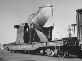 Cruiser's Propeller Arriving on Flat Car at Brooklyn Navy Yard