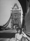 Actress Kim Hunter  Posing on the Gothic Tower Bridge