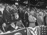 President Harry S Truman Standing for National Anthem at Opening Baseball Game