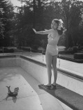 Actress Buff Cobb  Standing on the Diving Board