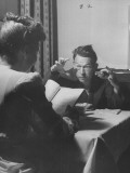 Actor Fred Allen Rehearsing His Lines at Breakfast