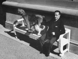 President Alfredo Baldomir  Sitting on a Bench at His Presidential Residence with His Dogs