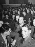 Bob Hope Sitting in Audience with Gis During Show for Soldiers During WWII
