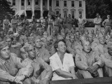 First Lady Eleanor Roosevelt  Singing with a Large Group of US Soldiers