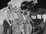 US Navy Pilots Standing in Front of an Observation Plane