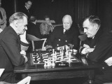 Naval Officers Playing Chess at Officers' Mess at Brooklyn Navy Yard