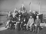 Group Shot of Winston Churchill  Franklin Roosevelt and Others Sitting Together