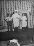 Comedians Billy Gilbert and Shemp Howard Walking Through Scene While Wearing Flannel Nighties