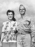 PFC Amos T Burke and His Wife Standing on US Army Base