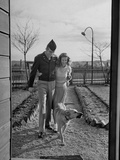 Soldier and Wife Walking Together with Dog